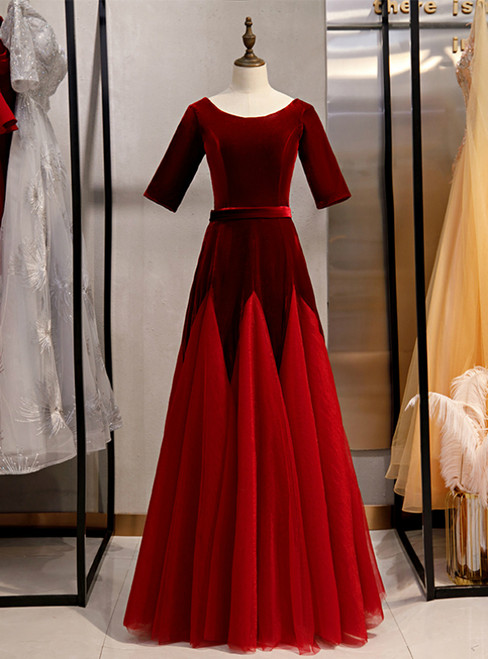 Burgundy Tulle Velvet Short Sleeve Prom Dress