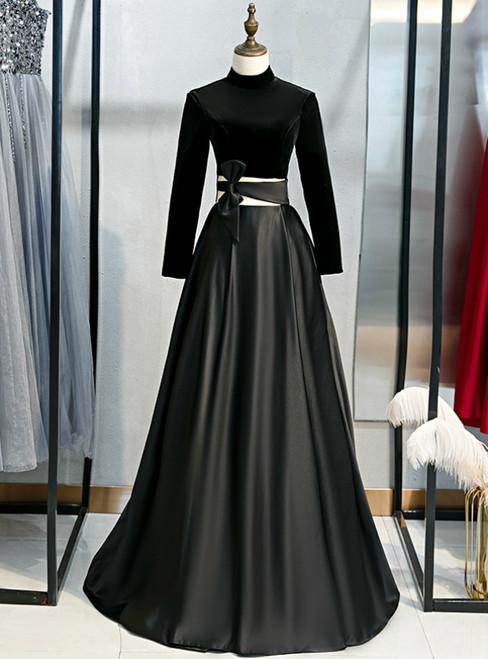 Black Satin Velvet Long Sleeve Cut Out Prom Dress
