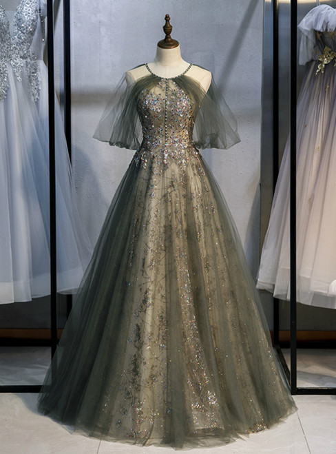 Gray Tulle Halter Backless Beading Sequins Prom Dress