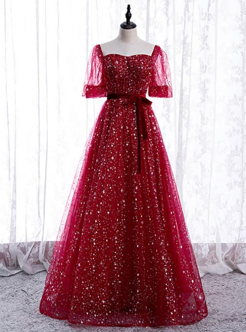 Burgundy Tulle Sequins Square Short Sleeve Prom Dress