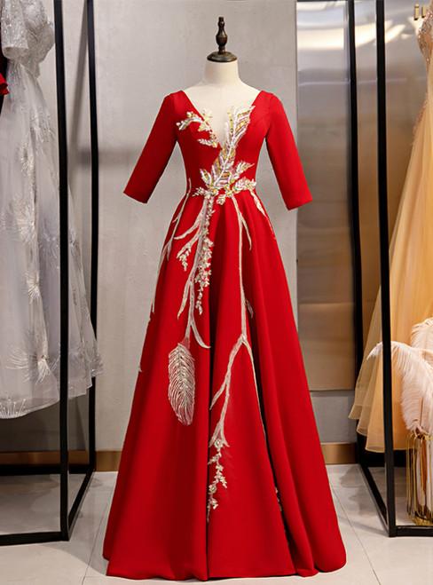 Burgundy Satin Short Sleeve Sequins Appliques Prom Dress