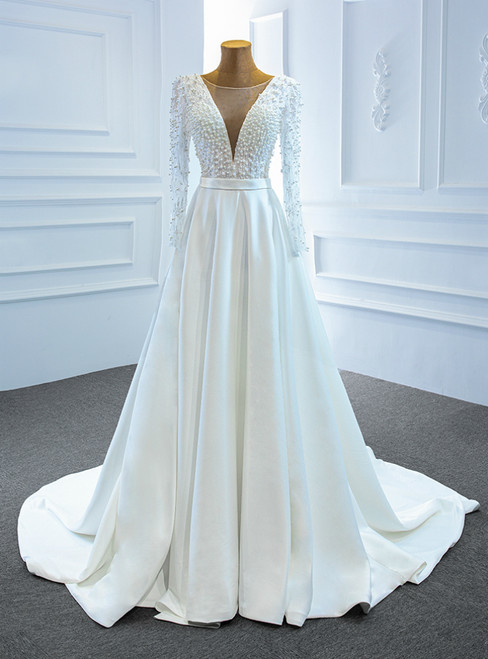 White Satin Long Sleeve Illusion V-neck Pearls Wedding Dress