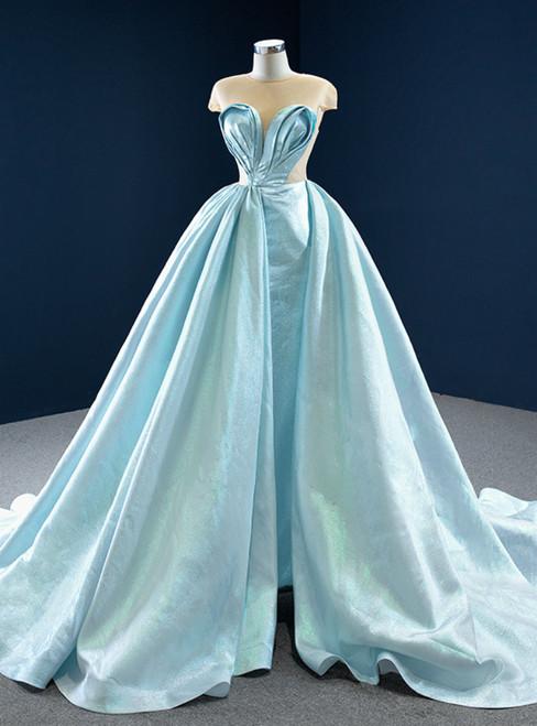 Light Blue Satin Cap Sleeve Illusion Pleats Prom Dress