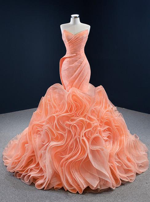 Orange Mermaid Tulle Sweetheart Pleats Prom Dress