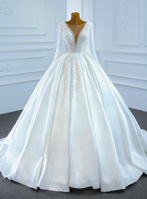 White Satin Long Sleeve Pearls Illusion Wedding Dress