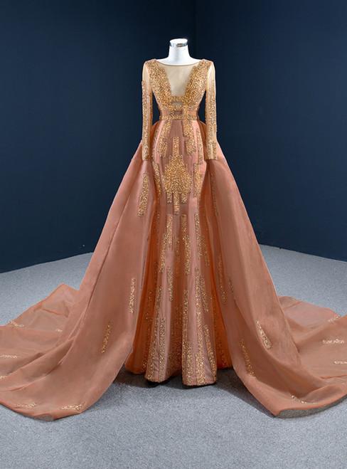 Orange Red Mermaid Tulle Long Sleeve Beading Prom Dress