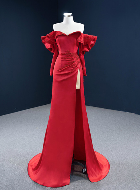 Red Mermaid Satin Off the Shoulder Long Sleeve Beading Prom Dress
