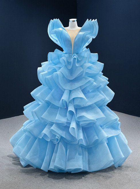 Blue Ball Gown Tulle Tiers See Through V-neck Prom Dress