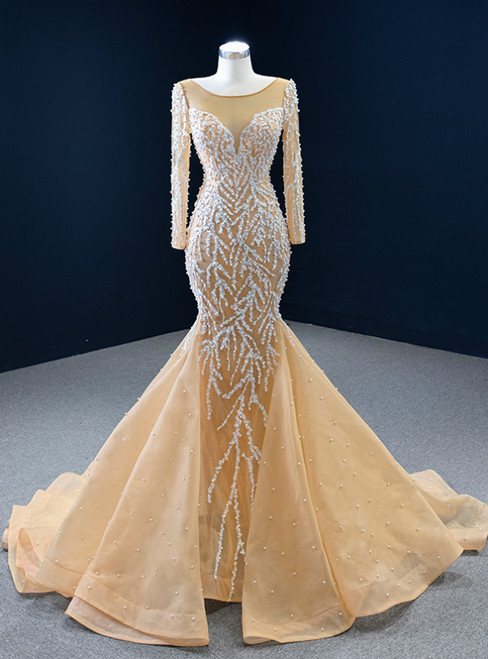 Champagne Mermaid Tulle Long Sleeve Pearls Prom Dress