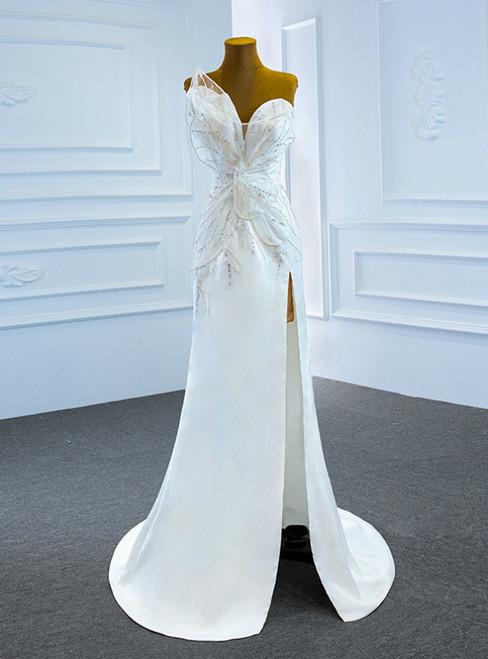 White Mermaid Satin One Shoulder Sequins Wedding Dress