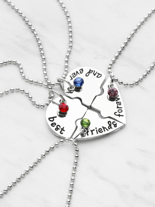 Crystal Detail Heart Shaped Friendship Necklace 4pcs