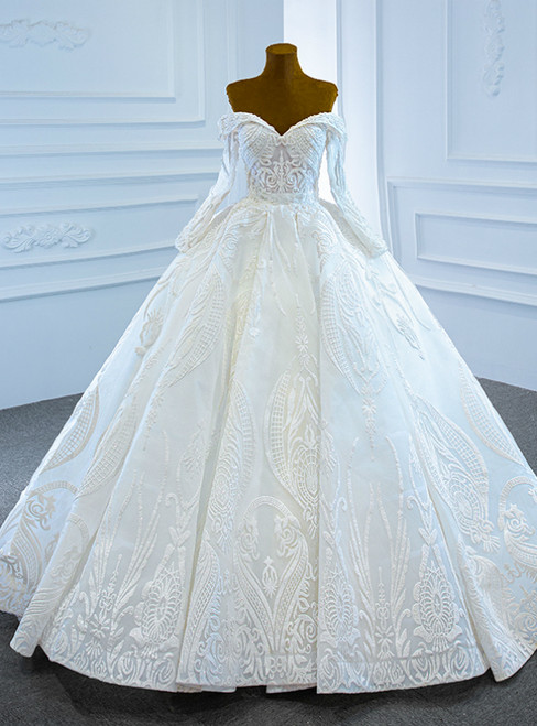 White Ball Gown Sequins Off the Shoulder Long Sleeve Beading Wedding Dress
