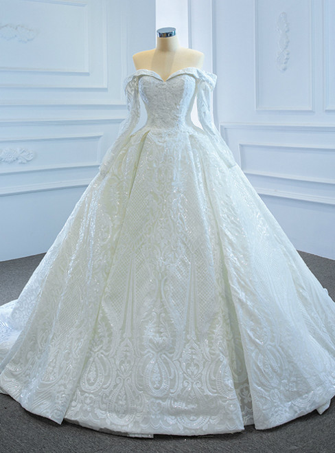 White Ball Gown Sequins Off the Shoulder Long Sleeve Wedding Dress