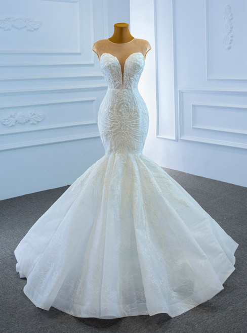 White Mermaid Lace Cap Sleeve Beading Wedding Dress