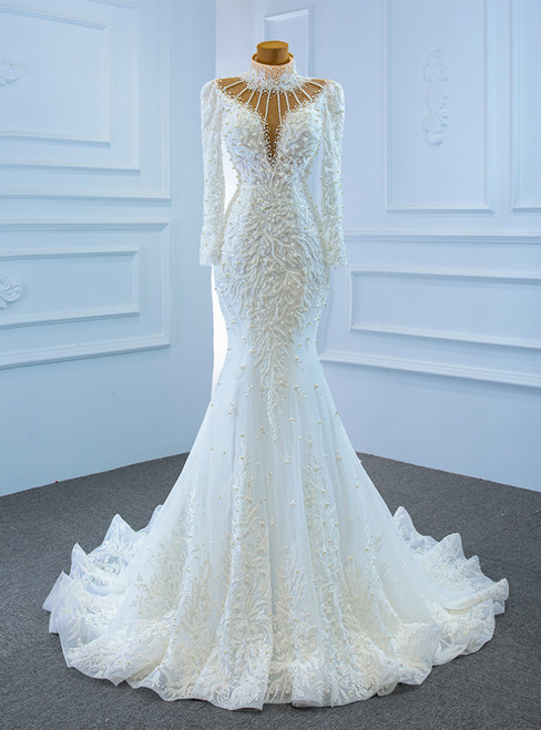 White Mermaid Tulle High Neck Long Sleeve Appliques Wedding Dress