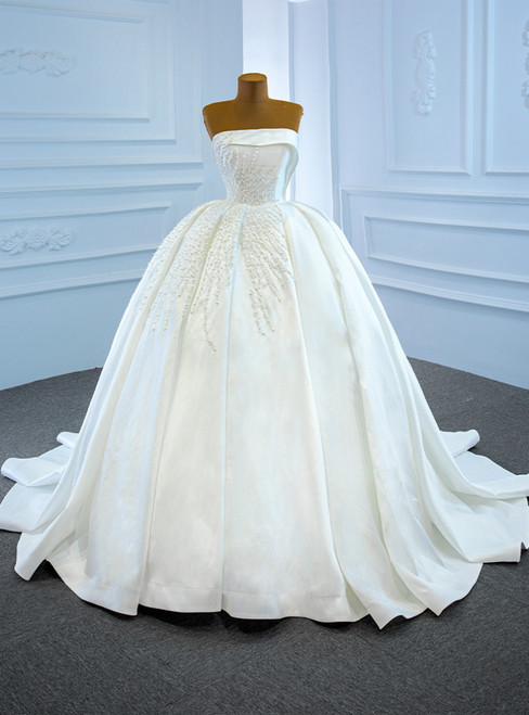 White Satin Strapless Pearls Sleeveless Pleats Wedding Dress