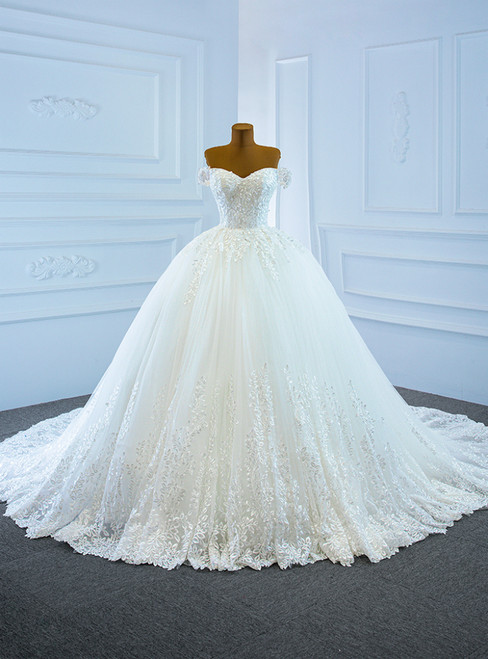 White Tulle Appliques Off the Shoulder Wedding Dress