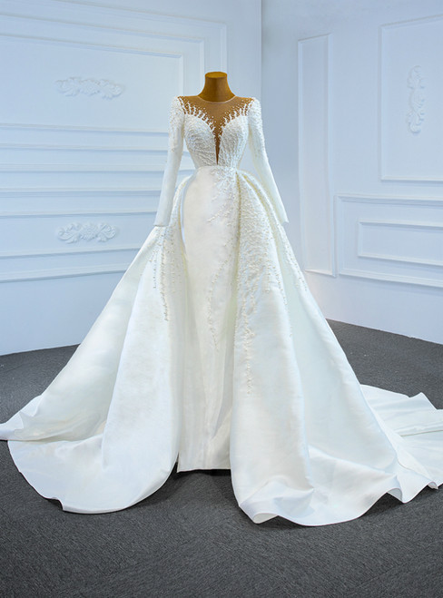 White Mermaid Satin Long Sleeve Pearls Wedding Dress