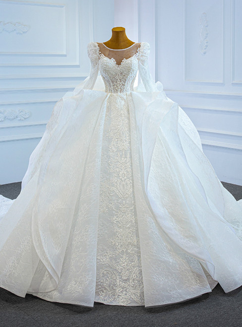 White Lace Ball Gown Long Sleeve Beading Wedding Dress