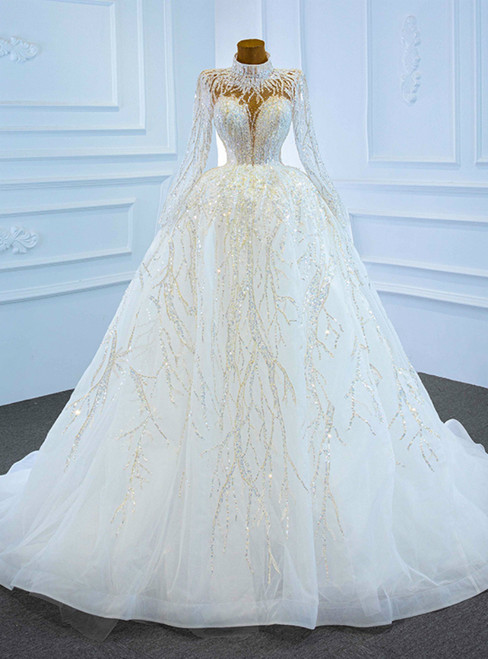White Tulle Sequins High Neck Long Sleeve Wedding Dress