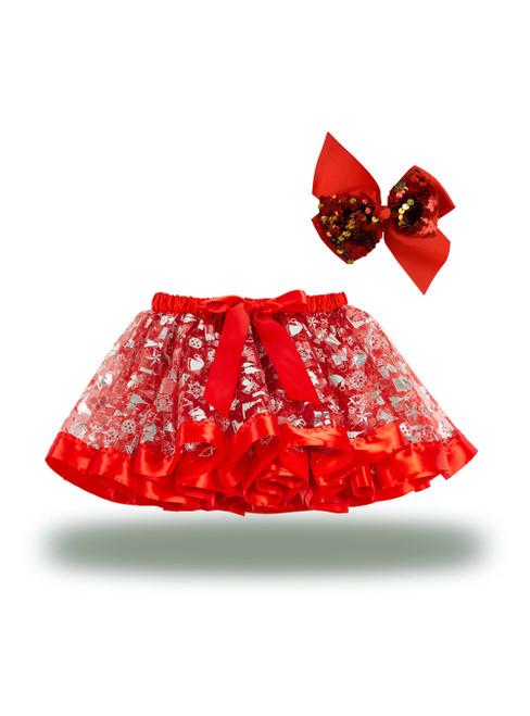 Red Christmas Skirts Printed Tutu Skirt