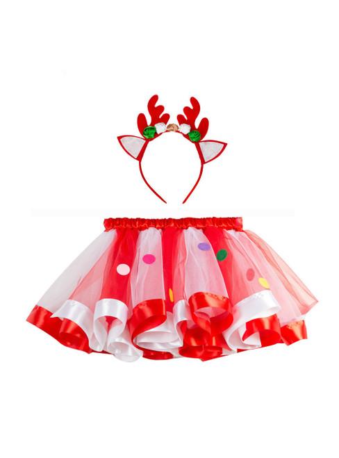 Christmas Girls Mesh Rainbow Tutu Skirt