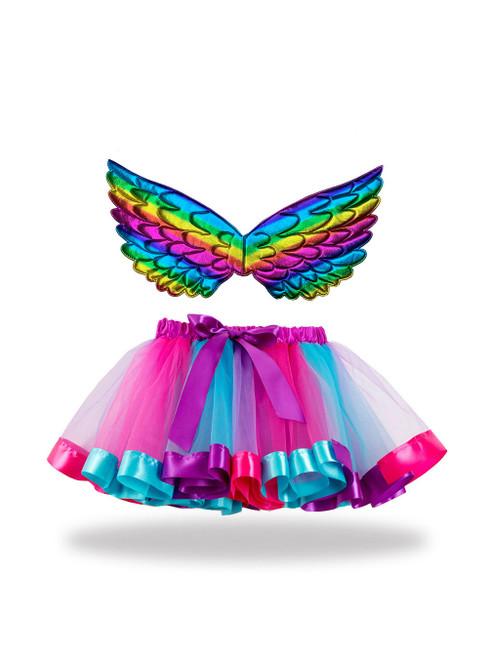 Rainbow Wings Tutu Skirt Girl Gauze Skirt