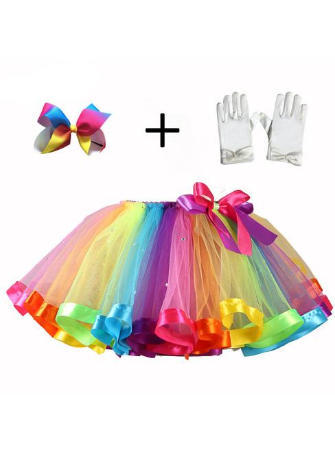 Rainbow Tutu Four Piece Mesh Skirt