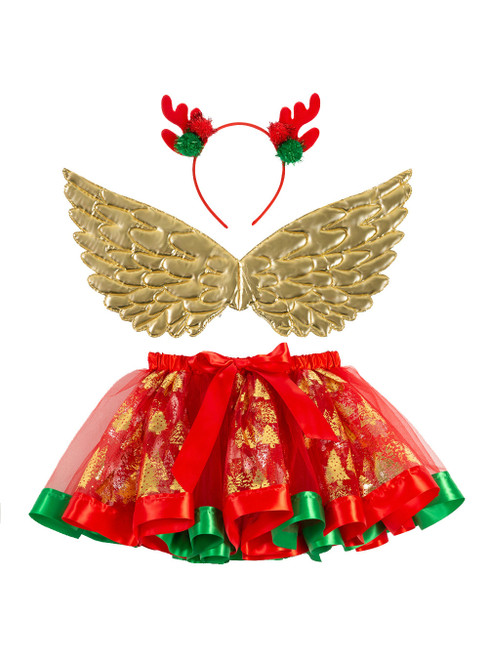 Girls's Print Christmas Tree Skirts Wings 3 Piece