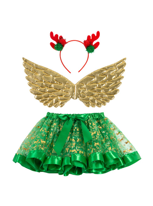 Girls's Print Christmas Deer Skirts Wings