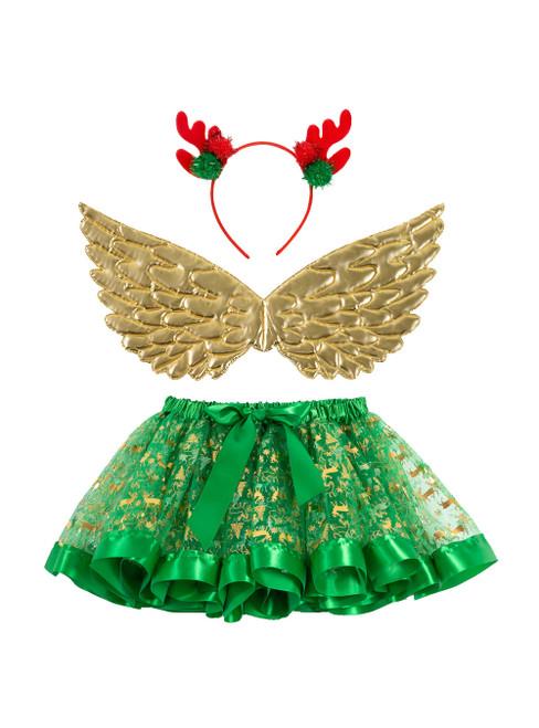 Girls's Print Christmas Deer Skirts Wings