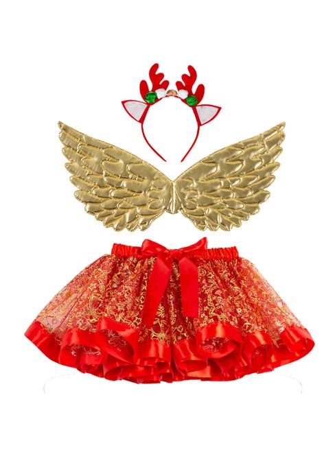 Red Girls Christmas Party Tulle Tutu Skirt