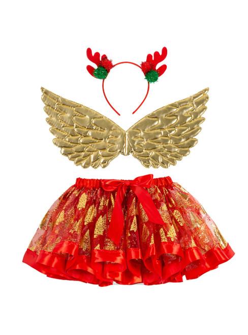 Red Girls Christmas Tree Tulle Tutu Skirt