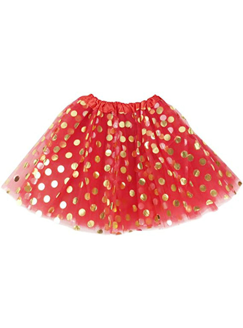 Red Girls Tulle Polka Dot Tutu Skirt
