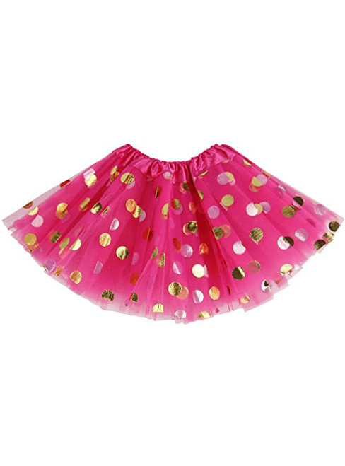 Fuchsia Girls Tulle Polka Dot Tutu Skirt