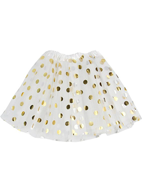 White Girls Tulle Polka Dot Tutu Skirt