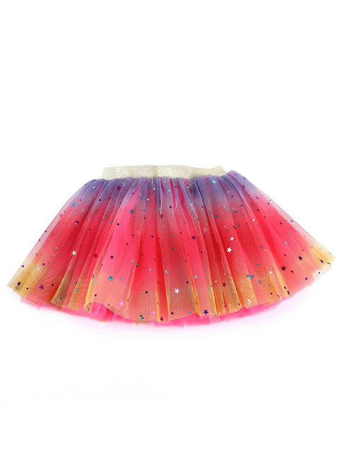 Rainbow Tulle Sequins Girls Tutu Skirt