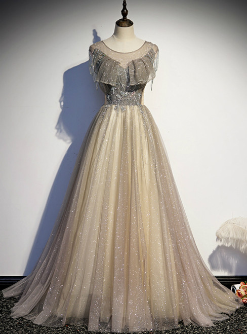 Gray Tulle Sequins Backless Tassel Beading Prom Dress