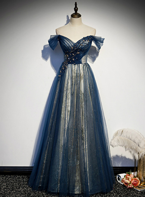 Blue Tulle Sequins Off the Shoulder Beading Prom Dress