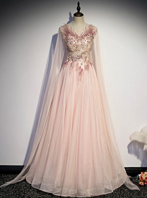 Pink Tulle Long Sleeve Appliques Beading Prom Dress