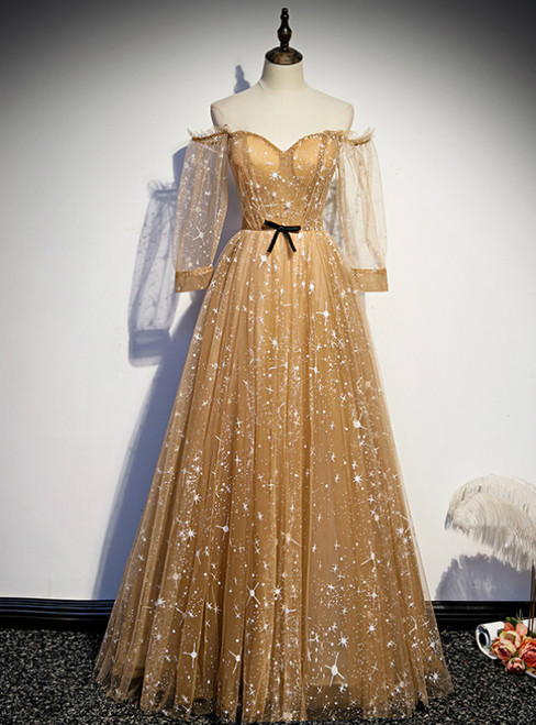 Champagne Tulle Off the Shoulder Embroidery Long Sleeve Prom Dress