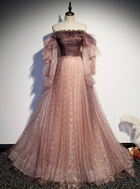 Pink Tulle Sequins Off the Shoulder Long Sleeve Prom Dress