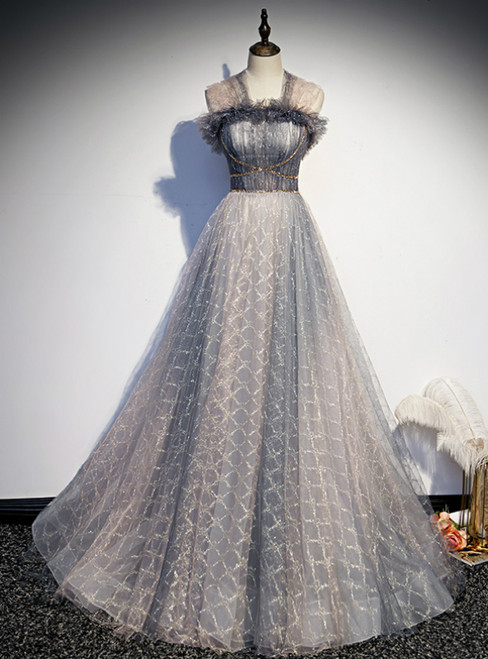A-Line Gray Tulle Pleats Beading Prom Dress