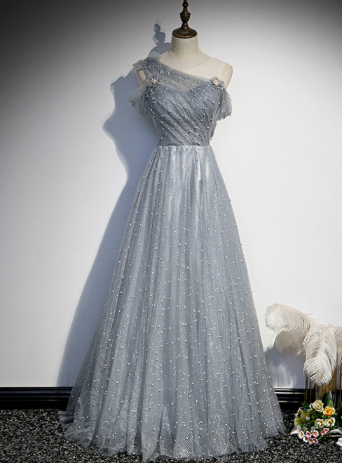 Gray Tulle Scoop Pearls Pleats Prom Dress