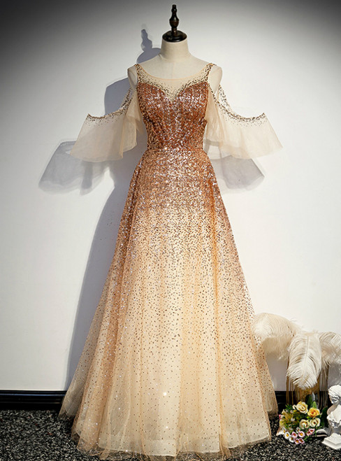 Champagne Gold Sequins Flying Sleeve Prom Dress