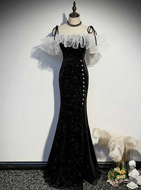 Black Mermaid Sequins Spaghetti Straps Pearls Prom Dress