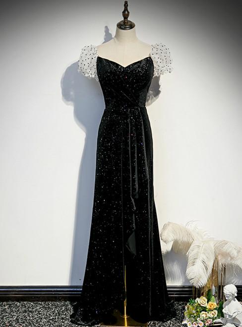 Black Velvet Puff Sleeve Pleats Prom Dress With Split