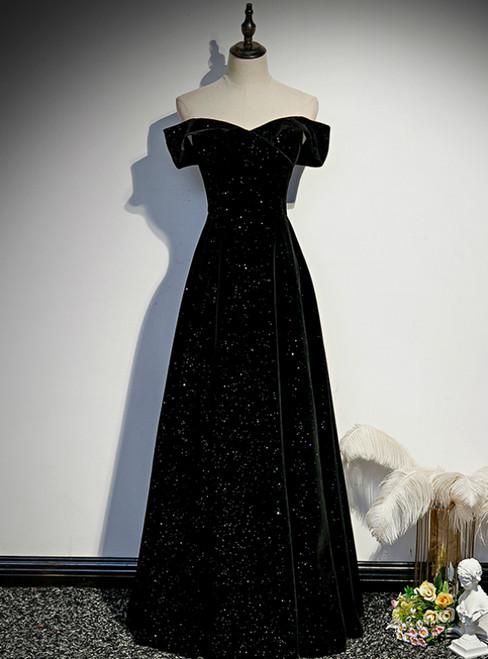 Black Velvet Off the Shoulder Prom Dress