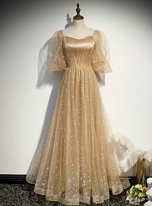 Champagne Tulle Embroidery Puff Sleeve Prom Dress