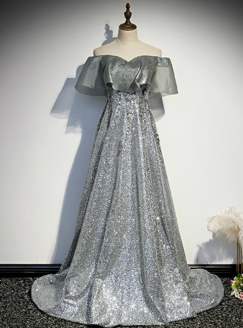 Silver Gray Sequins Off the Shoulder Prom Dress